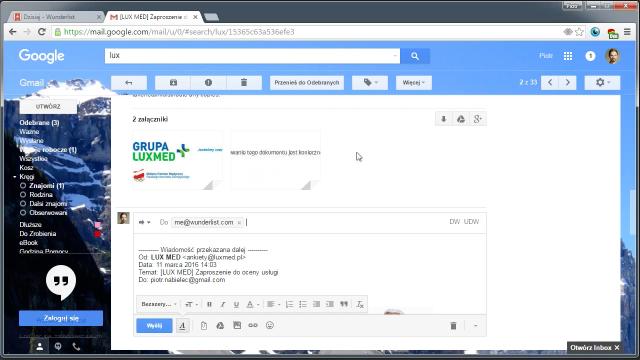 Wunderlist - zadanie e-mail